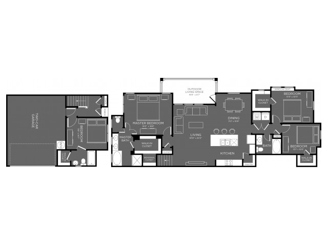 4 Bedroom Floor Plan   Pflugerville Texas Apartments   The Mansions at Stone Hill