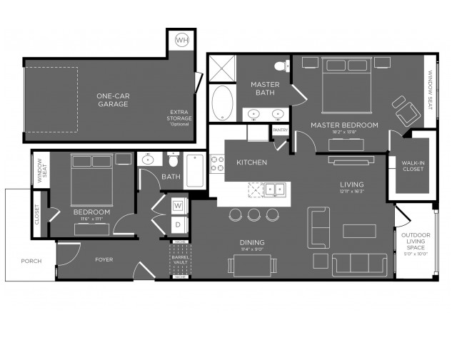 Floor Plan 15 | Pflugerville Apartments For Rent | The Mansions at Stone Hill