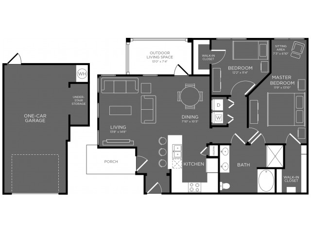 2 Bedroom Floor Plan | Apartments Pflugerville | The Mansions at Stone Hill