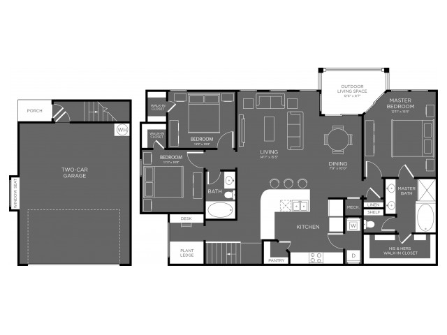 3 Bedroom Floor Plan   Apartments For Rent In Pflugerville TX   The Mansions at Stone Hill 1