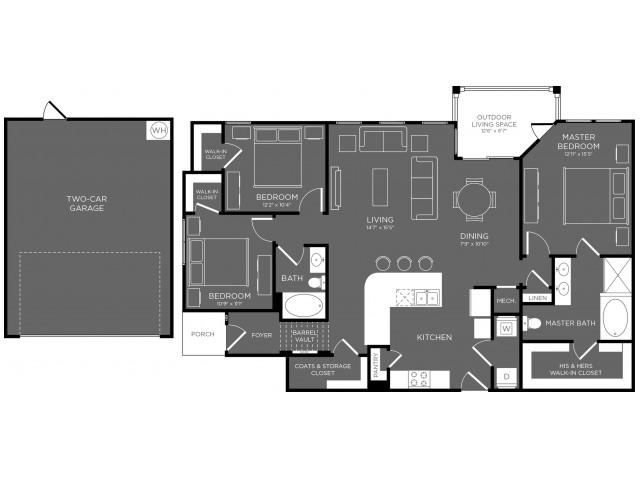 3 Bedroom Floor Plan   Apartments For Rent In Pflugerville TX   The Mansions at Stone Hill