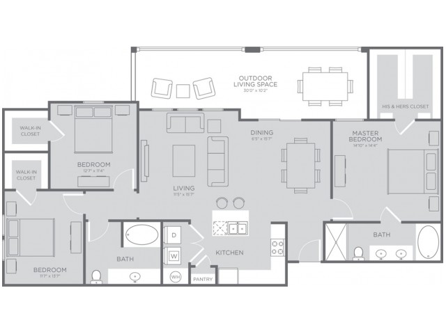 Floor Plan 6 | Apartments In League City Texas | The Towers of Seabrook