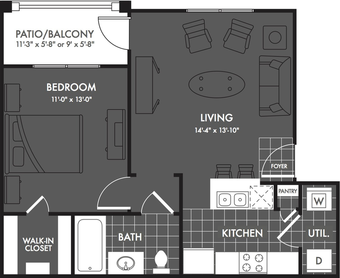 1 Bedroom Floor Plan | Luxury Apartments In San Antonio | The Estates at Briggs Ranch