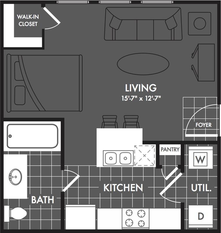 Studio Floor Plan | Apartments For Rent In San Antonio | The Estates at Briggs Ranch