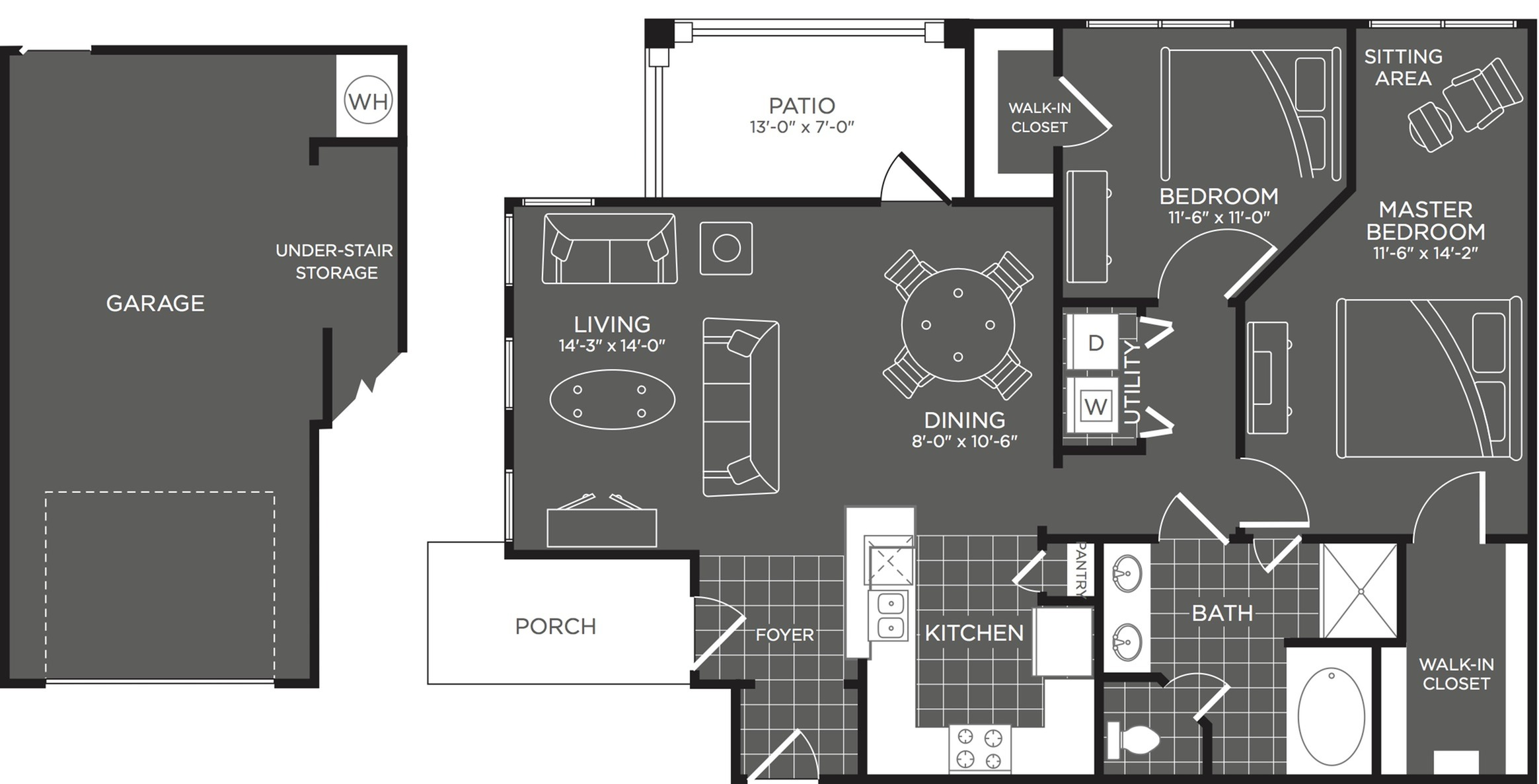 2 Bedroom Floor Plan | San Antonio Apartments | The Mansions at Briggs Ranch