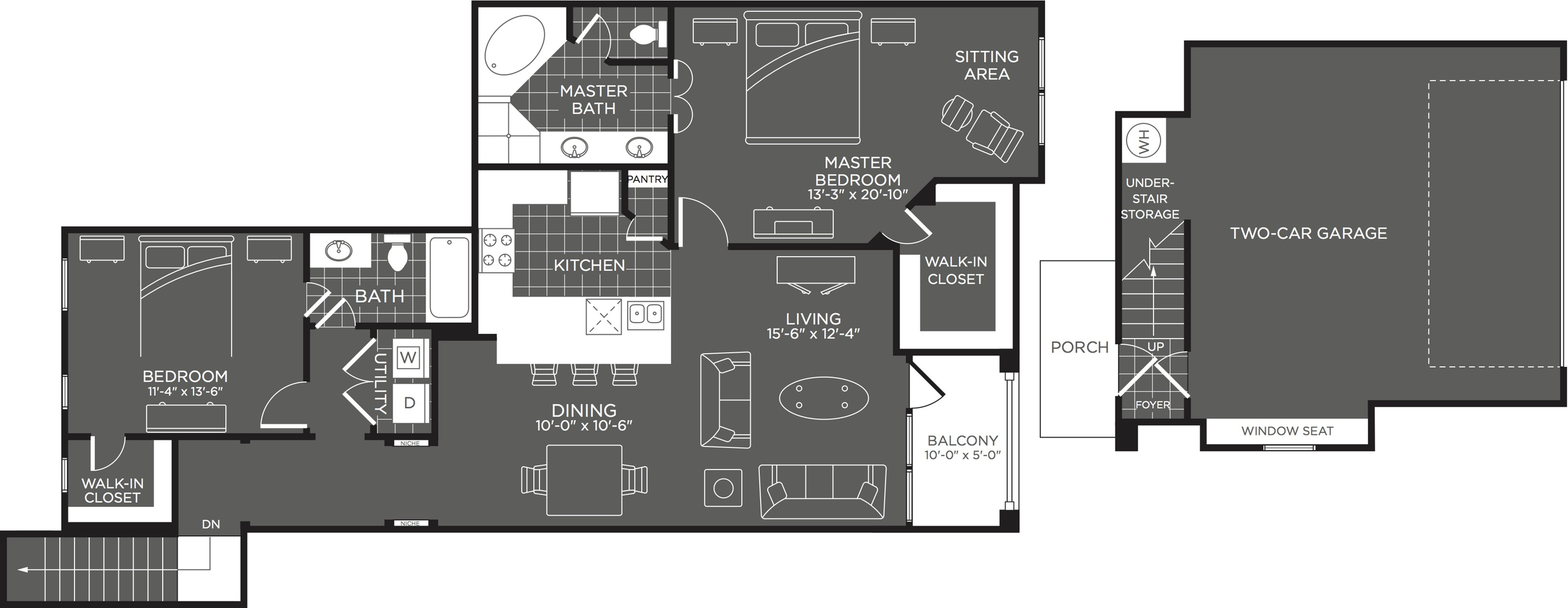 Floor Plan 5 | 2 Bedroom Apartments In San Antonio | The Mansions at Briggs Ranch