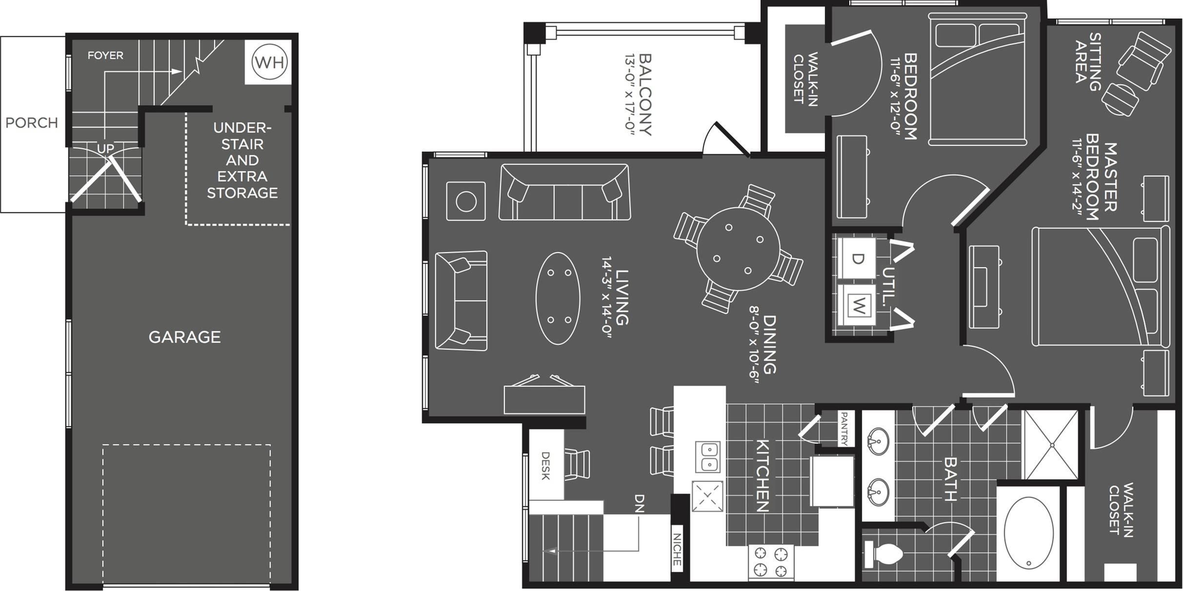 2 Bdrm Floor Plan | Apartments In San Antonio | The Mansions at Briggs Ranch