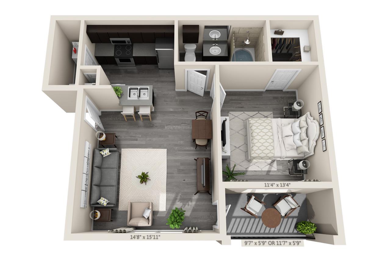1 Bedroom Floor Plan | Apartments In Aubrey TX | Luxe 3Eighty