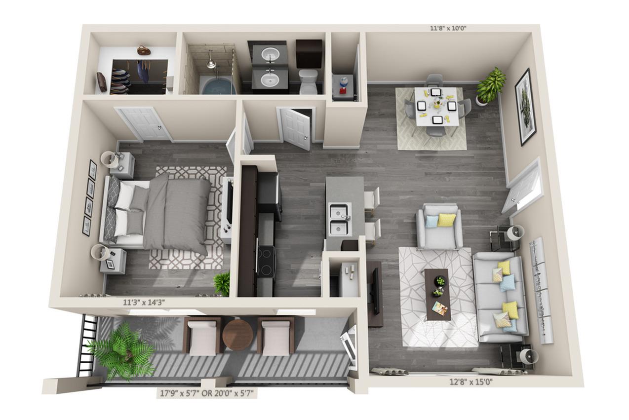 1 Bdrm Floor Plan | Luxury Apartments In Aubrey TX | Luxe 3Eighty