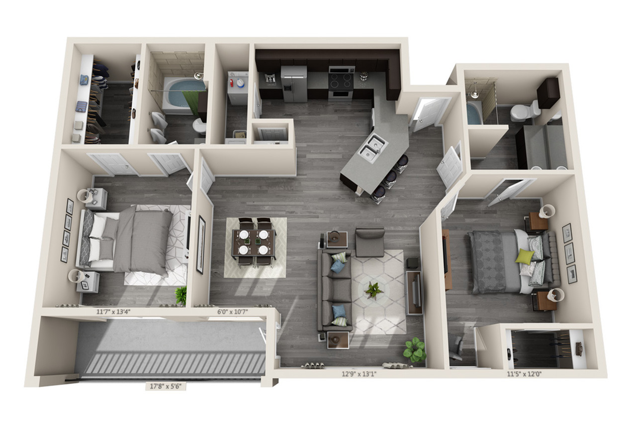 2 Bedroom Floor Plan | Aubrey Apartments | Luxe 3Eighty