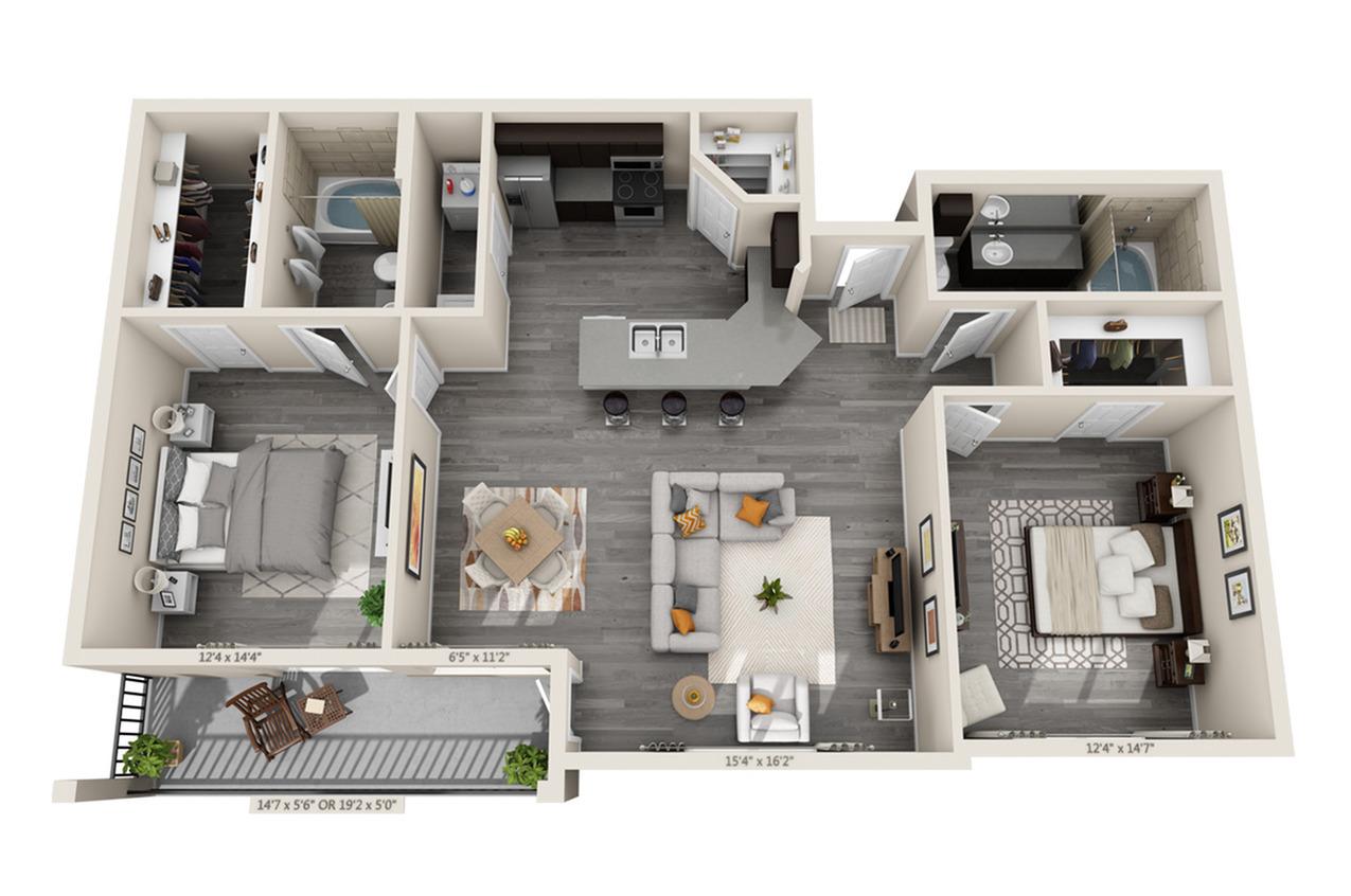 2 Bdrm Floor Plan | Apartments For Rent In Aubrey TX | Luxe 3Eighty