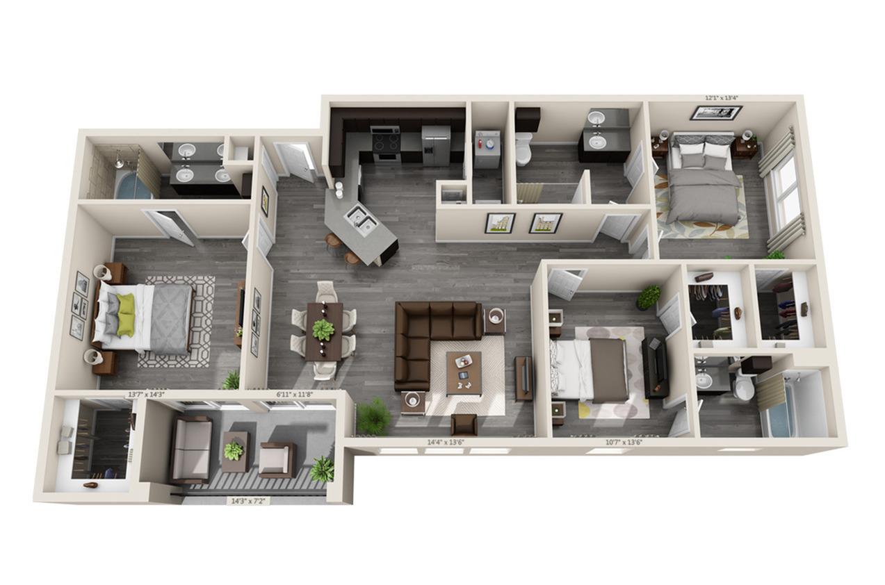 3 Bedroom Floor Plan | Aubrey TX Apartments | Luxe 3Eighty
