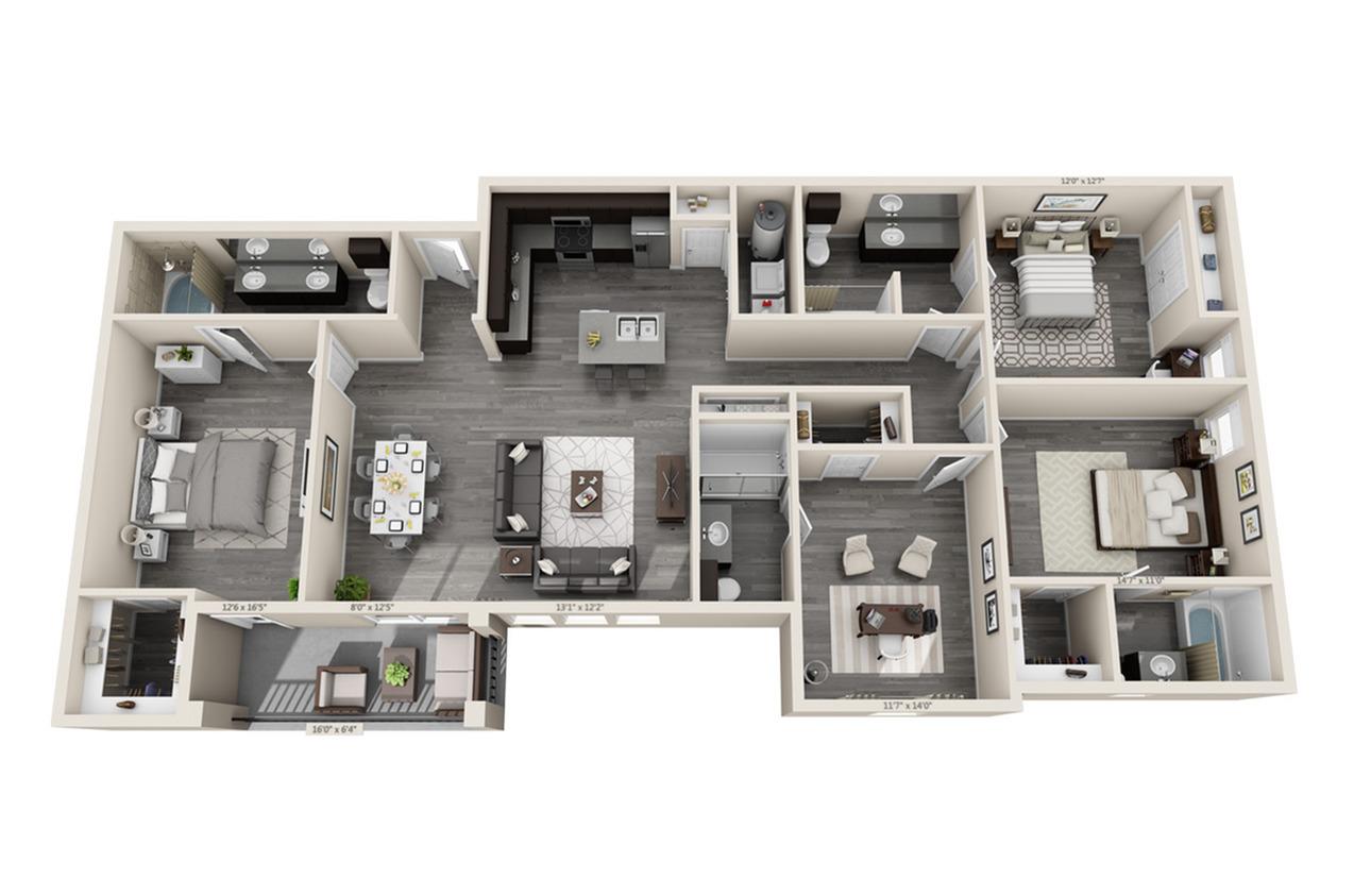 4 Bedroom Floor Plan | Little Elm Apartments | Luxe 3Eighty