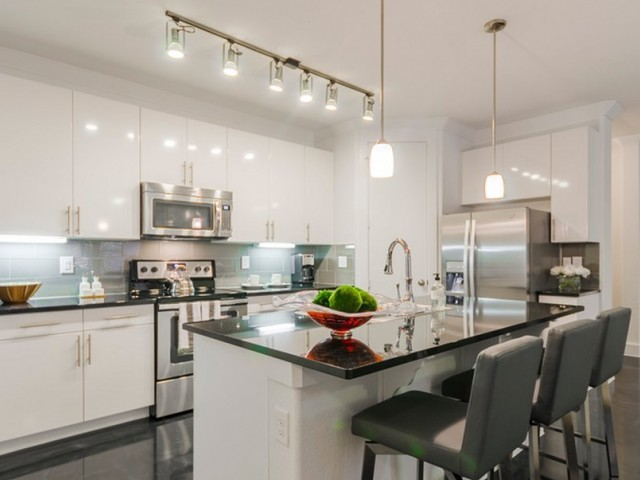 Image of Gourmet Chef's Kitchen with Black Galaxy Granite Countertops for The Towers Seabrook