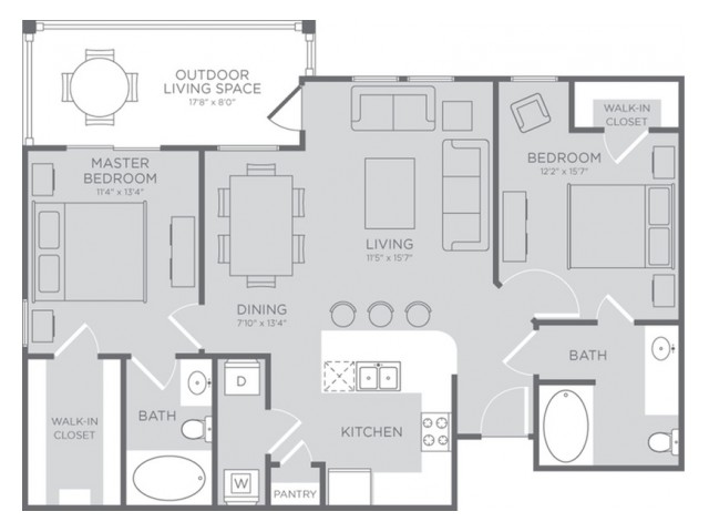 Floor Plan 4 | Apartments in Seabrook TX | The Towers of Seabrook