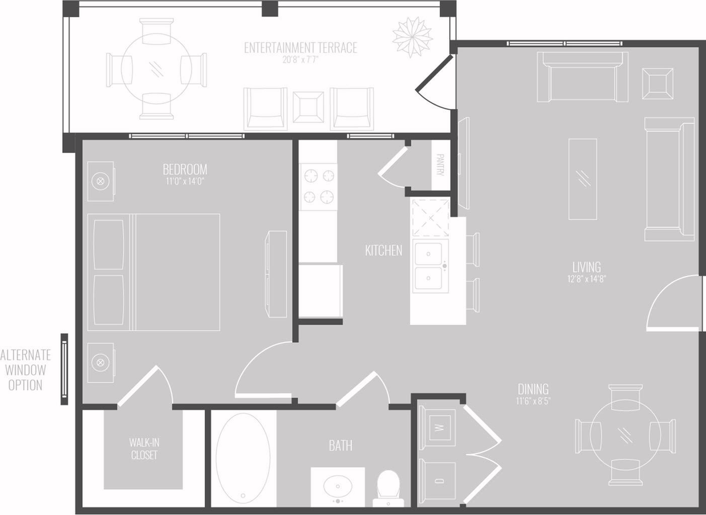 1 Bdrm Floor Plan | Apartments New Braunfels TX | The Luxe at Creekside