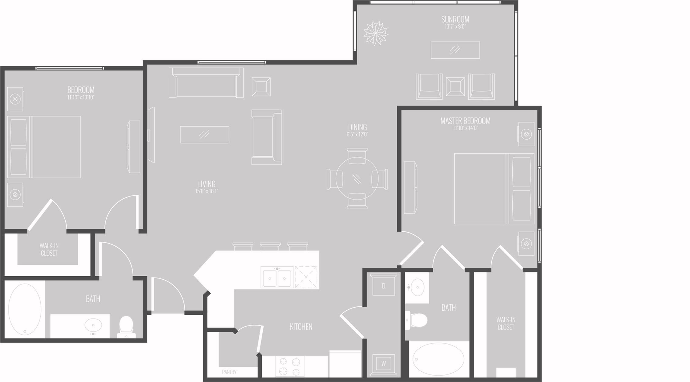Floor Plan 2 | Apartments New Braunfels TX | The Luxe at Creekside