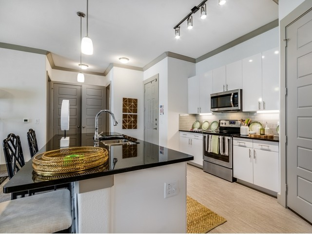 Image of 3cm Black Galaxy Granite Countertops in Kitchen & Baths for The Towers at Spring Creek