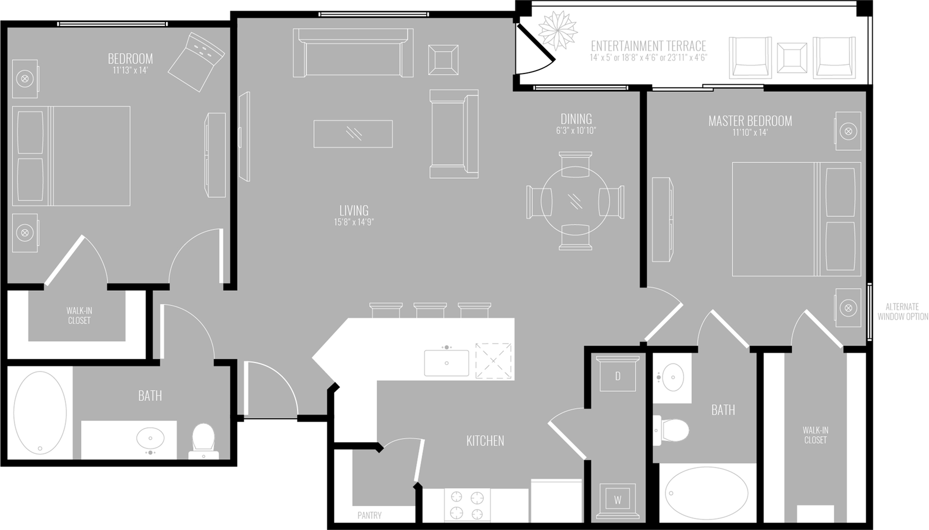 2 Bdrm Floor Plan | New Apartments Rowlett TX | The Mansions at Bayside