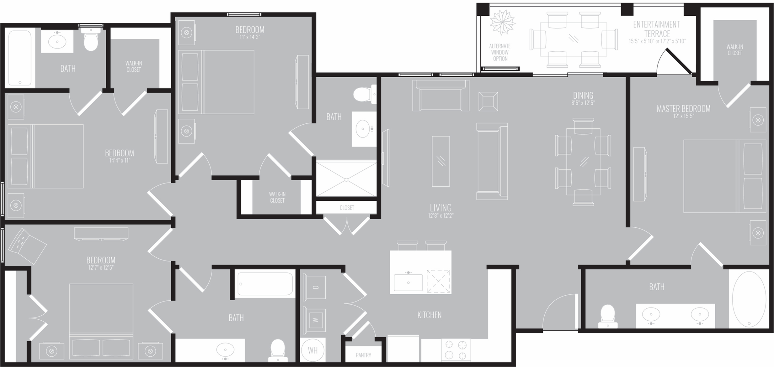 4 Bedroom Floor Plan | Apartments Rowlett Texas | The Mansions at Bayside