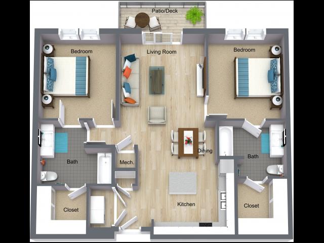 2x2 L 2 Bed Apartment I Street