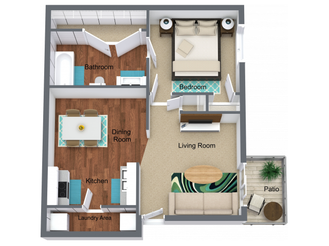 1 Bed - 1 Bath - 680 sq. ft.