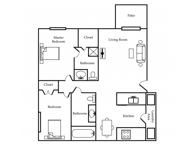 2 Bed - 2 Bath - 950 sq. ft.