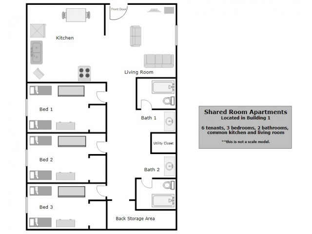 P1 (Shared Rooms) Floor Plan