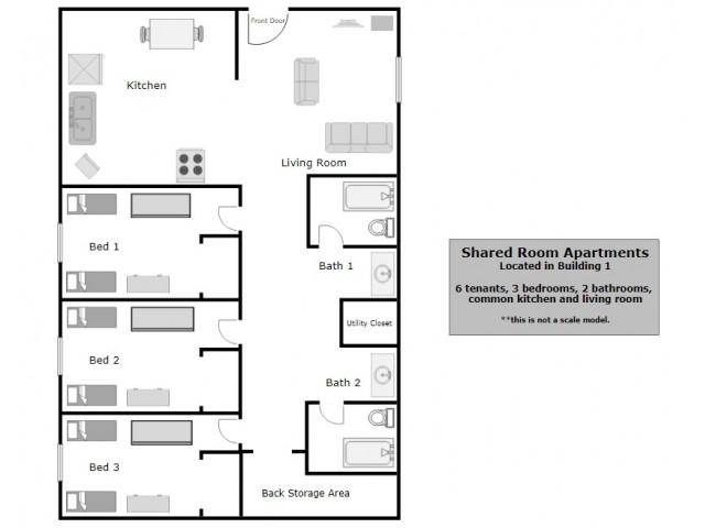P1 (Shared Rooms) Floor Plan