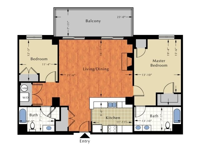 Floor Plan 1 | Apartment For Rent In Lowell Ma | Grandview Apartments