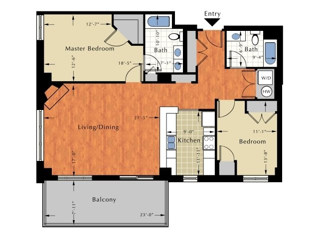 Floor Plan 2 | 2 Bedroom Apts In Lowell Ma | Grandview Apartments
