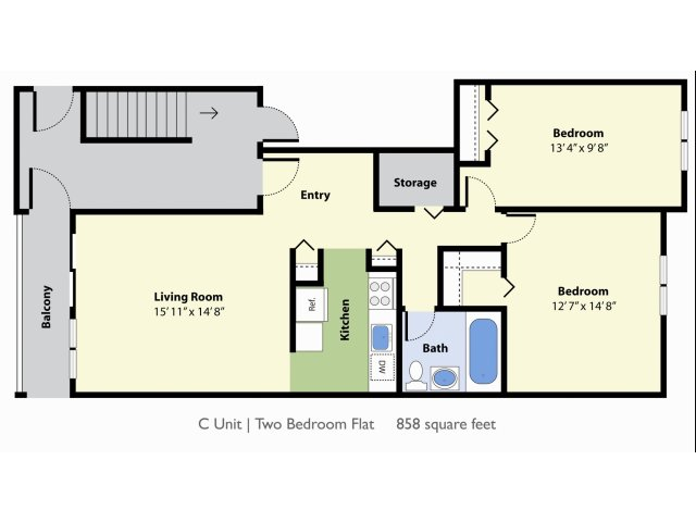 2 Bedroom Floor Plan | Apartments For Rent In Falmouth MA | Foreside Estates