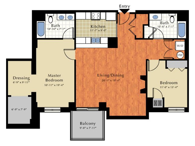 2 Bdrm Floor Plan | Apartment In Lowell Ma | Grandview Apartments