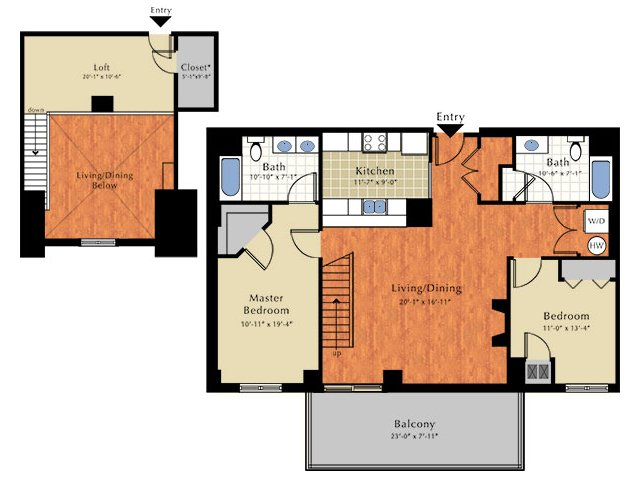 Floor Plan 3 | Lowell Ma Apartment | Grandview Apartments