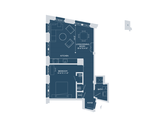 1 Bedroom Floor Plan | Boston Seaport Apartments | 381 Congress