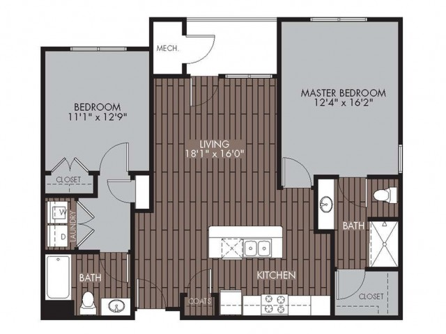 Floor Plan 3 | Apartments For Rent In Chelmsford MA | Mill and 3 Apartments