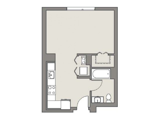 Example studio floor plan.  Actual unit layout may vary.