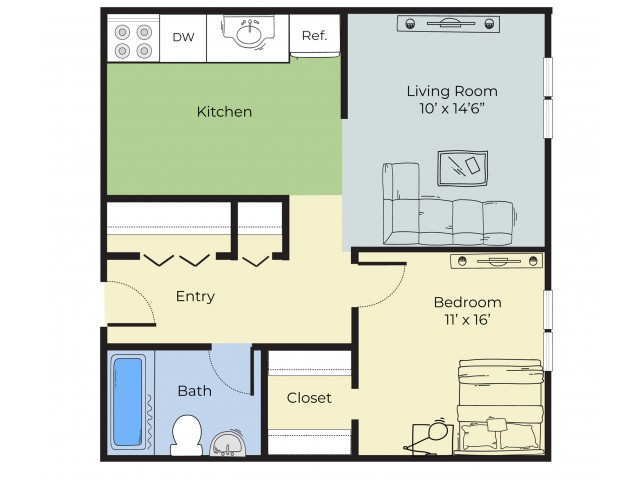 1 Bedroom Floor Plan | South Lawrence MA Apartment For Rent | Princeton at Mount Vernon