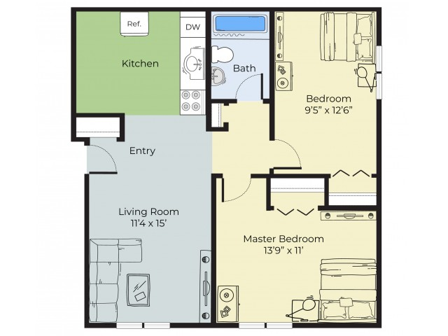 2 Bedroom Floor Plan | Apartments In South Lawrence MA | Princeton at Mount Vernon