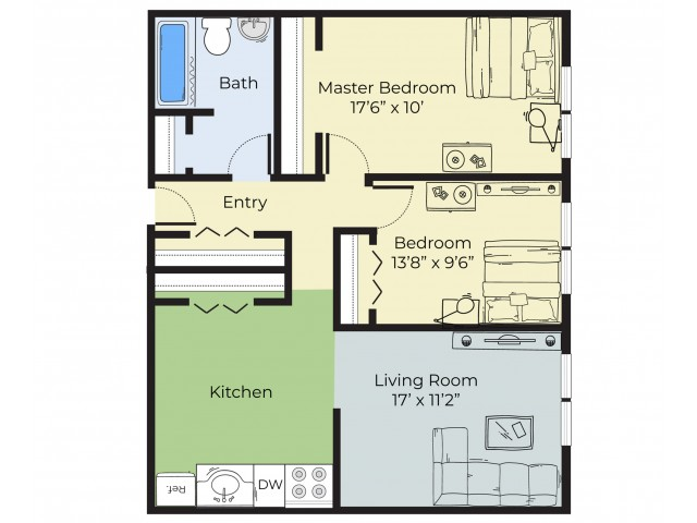 2 Bdrm Floor Plan | Apartment For Rent In South Lawrence MA | Princeton at Mount Vernon