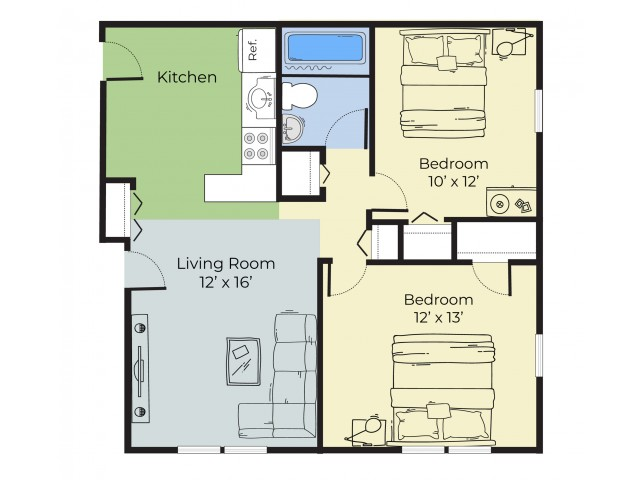 2 Bedroom Floor Plan | Dover New Hampshire Apartments | Princeton at Mill Pond
