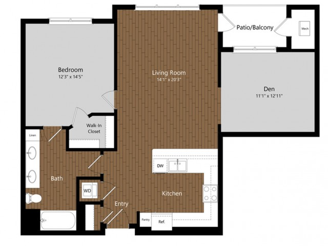 Emerald 1 Bdrm Floor Plan | Floor Plans & Pricing | 1-2 Bedroom Apartments North Andover MA | Princeton North Andover