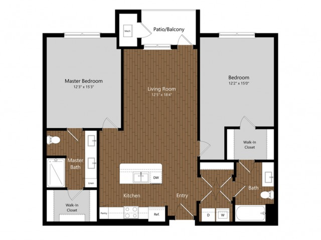 Sage 3 2 Bdrm Floor Plan | Amenities | Apartments In North Andover MA         | Princeton North Andover