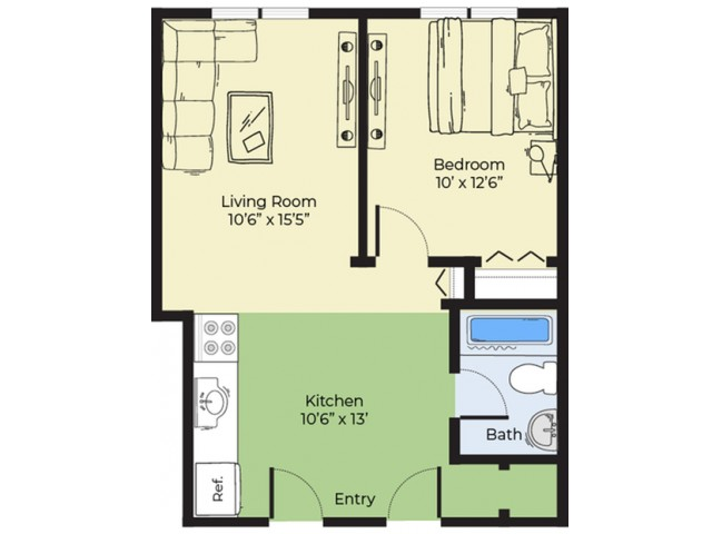 1 Bdrm Floor Plan | 2 Bedroom Apartments In Salem MA | Princeton Crossing