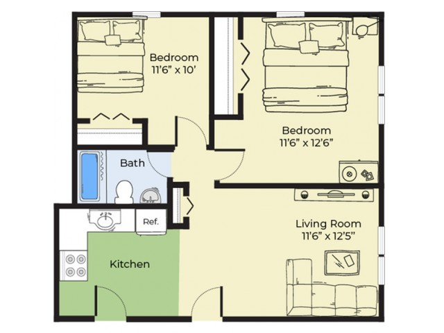 2 Bdrm Floor Plan | Apartments For Rent Near Salem MA | Princeton Crossing
