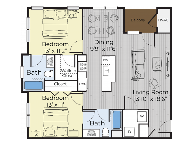 two bedroom annex floor plan