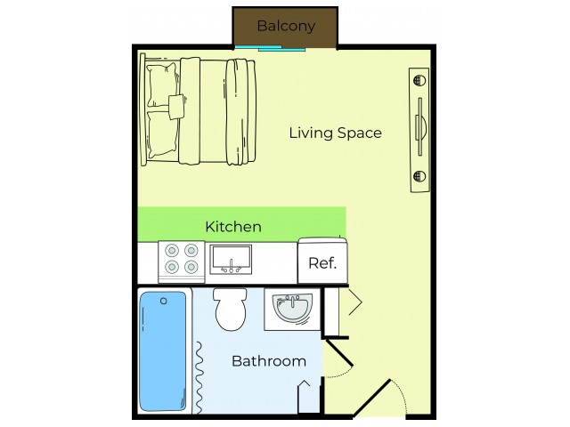 Studio Floor Plan | Lowell MA Apartments | Princeton Park