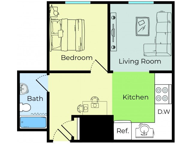 1 Bdrm Floor Plan | 3 Bedroom Apartments In Lowell MA | Princeton Park