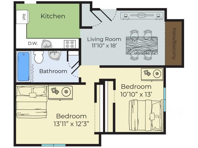 2 Bedroom Floor Plan | Lowell MA Apartments | Princeton Park