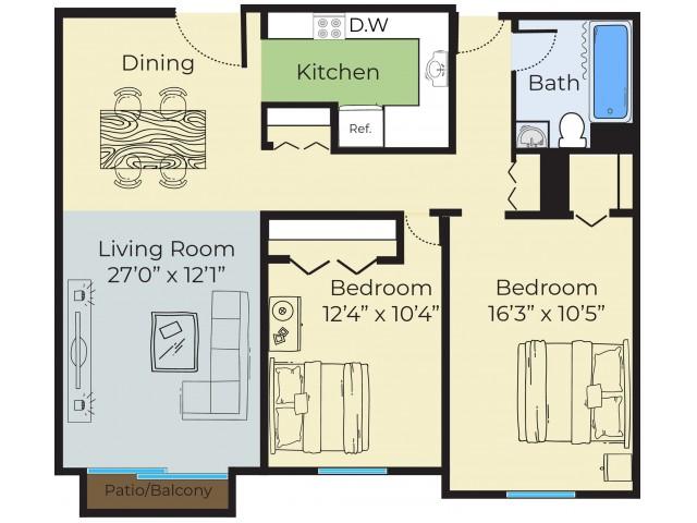 2 Bdrm Floor Plan | Lowell Massachusetts Apartments | Princeton Park